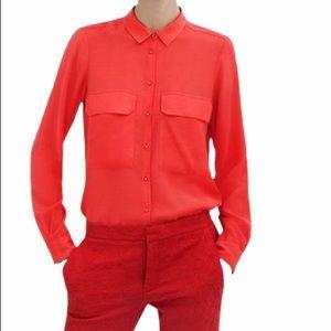 CALVIN KLEIN Coral Pink Orange Long Sleeve Top
